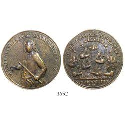 """Great Britain, copper """"Admiral Vernon"""" medal, Portobelo, 1739."""