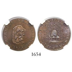 Great Britain, copper (1/4 penny) token, 1795, Cambridgeshire county, encapsulated NGC MS 65 BN.