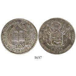 "Lima, Peru, silver ""6 reales""-sized medal, 1826, President Bolivar, ex-Derman."