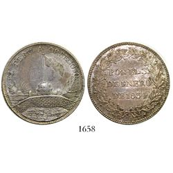 """Callao, Peru, silver """"6 reales""""-sized medal, 1834, General Orbegoso, ex-Derman."""