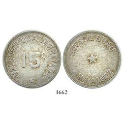 Mayaguez (Sucursal de Suau), Puerto Rico, aluminum 15-centavos transport token, 1900s, rare.