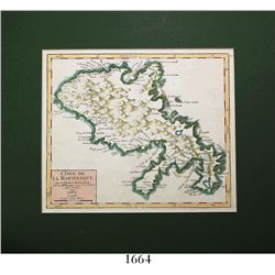 "Small, French map of Martinique entitled ""L'ISLE DE LA MARTINIQUE,"" dated 1749, by Robert Vaugondy,"