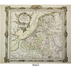 """French map of the Low Countries entitled """"LES PAYS BAS Francois, Autrichiens, et Hollandois, Divises"""