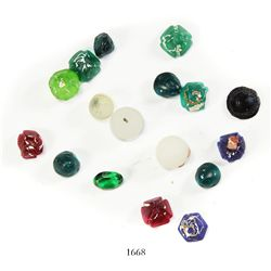 Lot of 17 colored-glass beads and faceted stones.