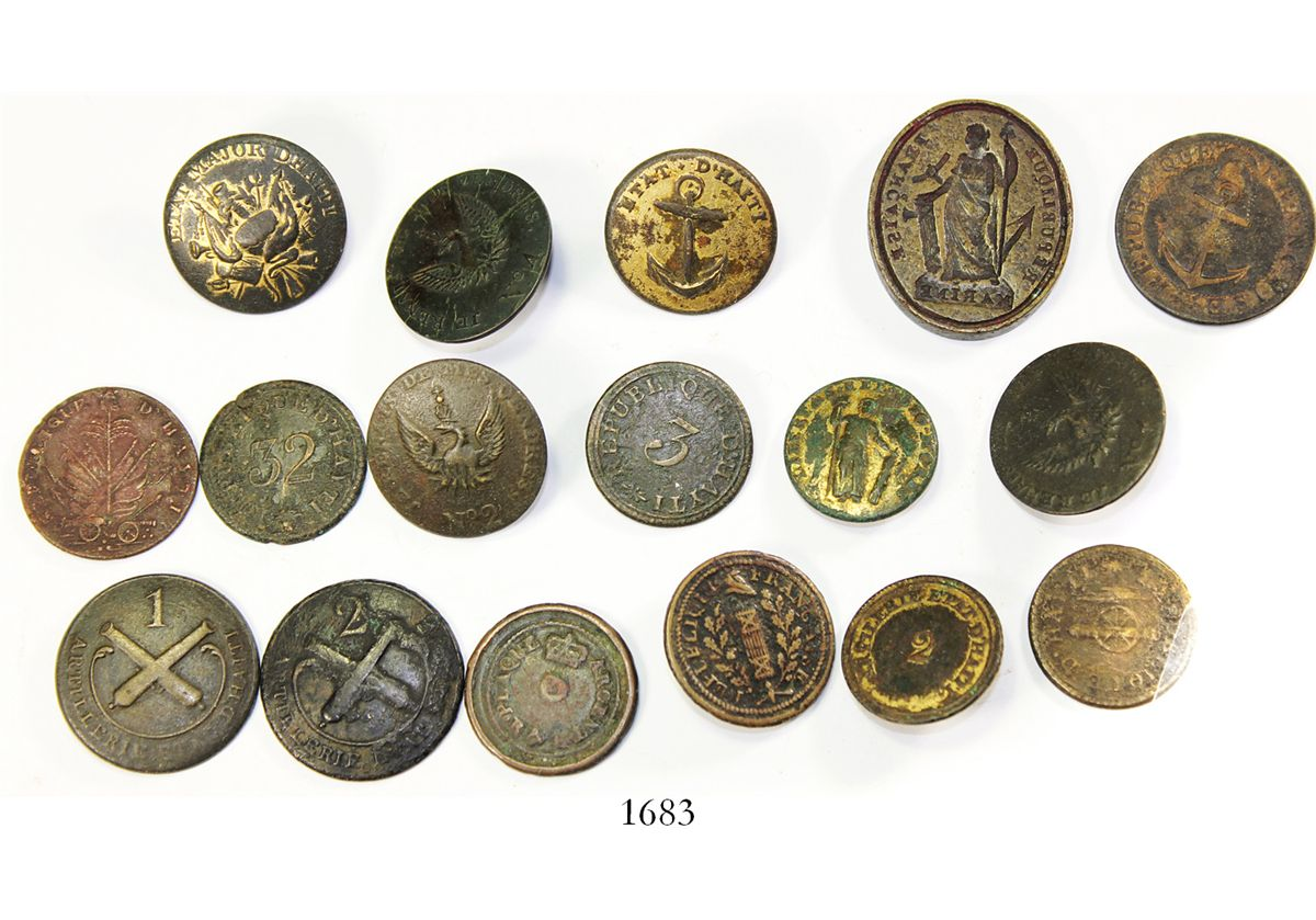 Lot of 17 small, cuprous items from Haiti, consisting of 16 French brass  military buttons (some made