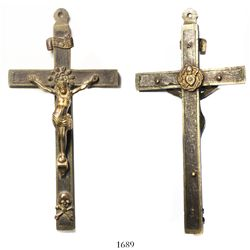 Spanish brass crucifix, early 1800s.