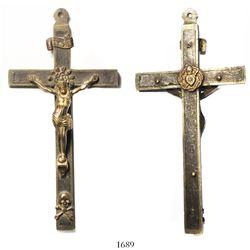 Spanish brass crucifix, early 1800s.