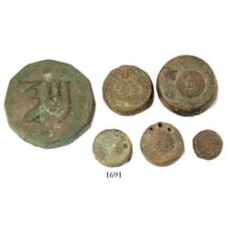 Lot of 6 bronze coin weights, various sizes (1500s).