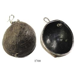 Coconut-shell carving of the Colombian coat-of-arms with silver mount, chain and hook, probably 1800