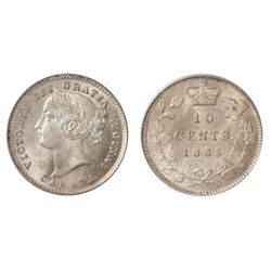 A LUSTROUS 1885 MINT STATE-64 TEN CENTS.