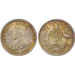 1917 Sixpence MS64