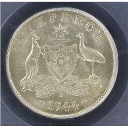 1944S Sixpence MS63