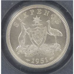 1951PL Sixpence MS64