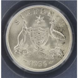 1956 Sixpence MS63