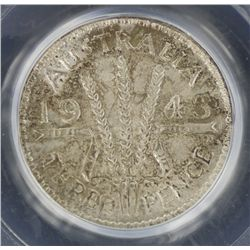 1943D Threepence MS65