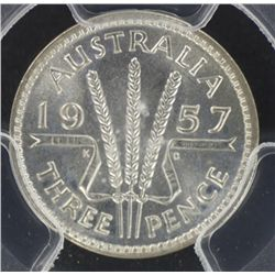 1957 Threepence MS66