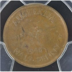 1948P ½ Penny MS62 Brown