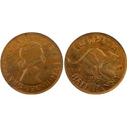 1955P ½ Penny MS63RB