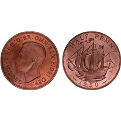 Great Britain 1950 ½ Penny PR65 Red