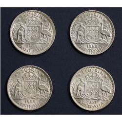 Australia Florins 1957, 1959, 1960 and 1961