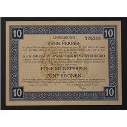 Montenegro 1917 10 Perper = 5 Kronen