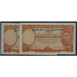 Australia 10 Shilling non-consecutive pair.