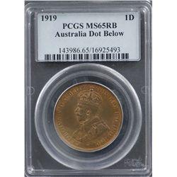 1919 Australia Penny PCGS MS65RB Dot Below