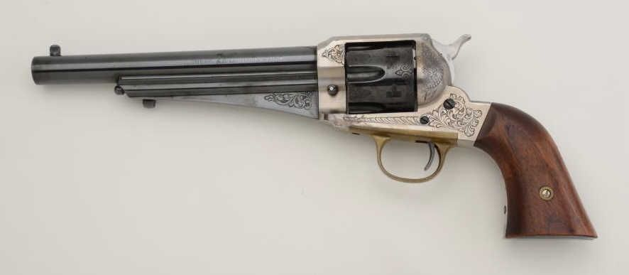 Modern Uberti copy of a Remington 1875 Army revolver, engraved,  45 cal ,  wood grips, #08830  This