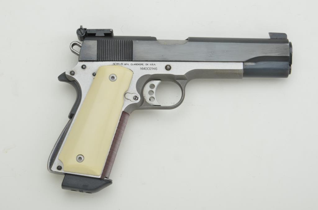"Custom Nowlin 1911-A1 semi-auto pistol with Remington Rand slide,  45 cal ,  5"" barrel, blue finish"