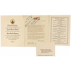 Lyndon Johnson and Hubert Humphrey Inaugural Invitation and Signed Lady Bird Letter