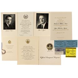 Nixon and Agnew Official Inaugural Program, Invitation, Ceremonies Program and Event Tickets