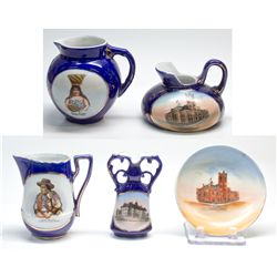 Western Souvenir Dresden China Pitchers, Saucer, and Bottle