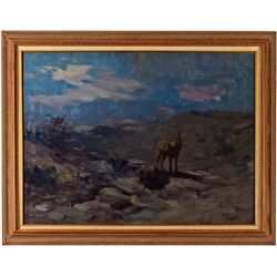 CA,Alhambra-,Oil Painting of Nocturnal Coyote Study in Style of Frank Tenney Johnson