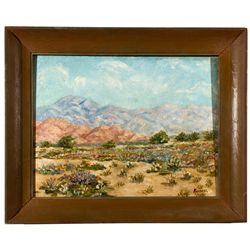 CA,Long Beach-Los Angeles County,Framed Oil on Board Painting of San Gorgonio in Spring