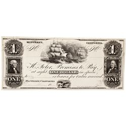 CA,Monterey-Monterey County,H. Toler Promises to Pay At In Specie $1