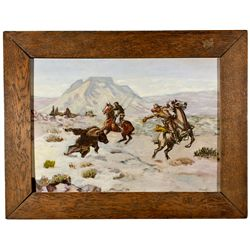MT,-,Bear Hunt Painting, Framed