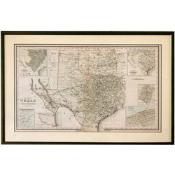 TX,-,Framed Lithograph Map of Texas