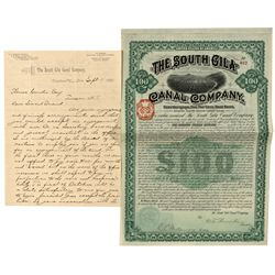 AZ,-Yuma County,South Gila Canal Company Bond and Letter
