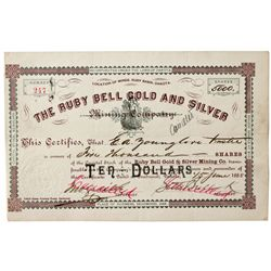 Dakota South,-Lawrence County,Ruby Bell Gold  and Silver Mining Company Stock Certificate
