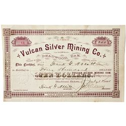 Dakota South,Carbonate-Lawrence County,The Vulcan Silver Mining Co. Stock Certificate