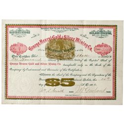 Dakota South,Deadwood-Lawrence County,George Hearst Gold and Silver Mining Co. Stock Certificate