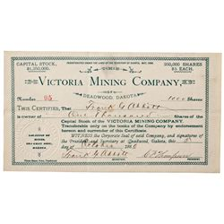 Dakota South,Deadwood-,Victoria Mining Company Stock