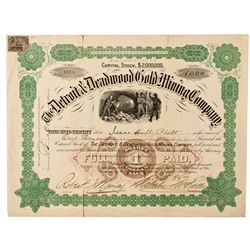 Dakota South,Lawrence County-,Detroit and Deadwood Gold Mining Co. Stock Certificate