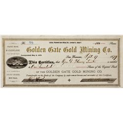 Dakota South,Lawrence County-,Golden Gate Gold Mining Co. Stock Certificate