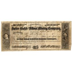 NV,Virginia City-Storey County,Sutro Mining Stock Certificate *Territorial*