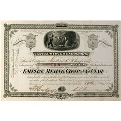 UT,Salt Lake City-Salt Lake County,Empire Mining Company Stock Certificate