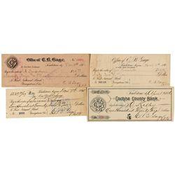 AZ,Tombstone-Cochise County,E.B. Gage Office Checks