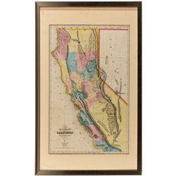 CA,-,Early California Map on Linen, Framed