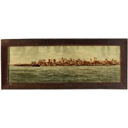 NY,New York-,Antique Colorized New York City Skyline Panorama