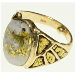,-,Men's Size 13 Gold Nugget and Gold Quartz Ring